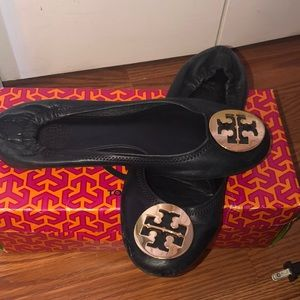 Tory Burch black leather flats. Size 8